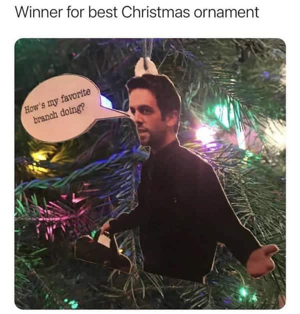 winner for best christmas ornament meme the office ryan hows my favorite branch doing