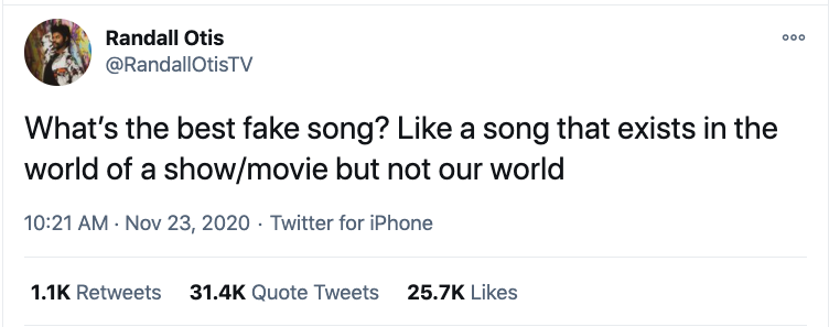 """People Are Sharing Their Favorite """"Fake Songs"""" From Movies And TV 6"""
