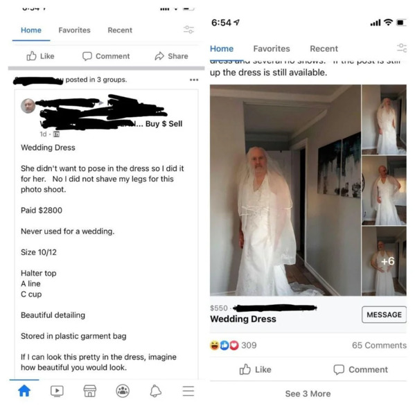 Man in wedding dress, status says the dress is for sale, never used for a wedding, Funny Facebook status