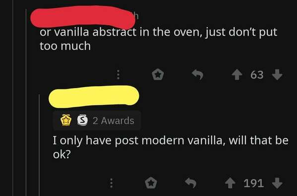 someone asking about vanilla abstract on twitter, bone apple tea, funny grammar spelling fail