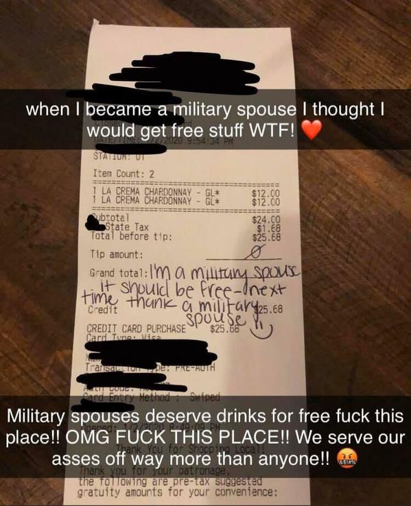 karens being karen, entitled woman leaves no tip because she's a military wife