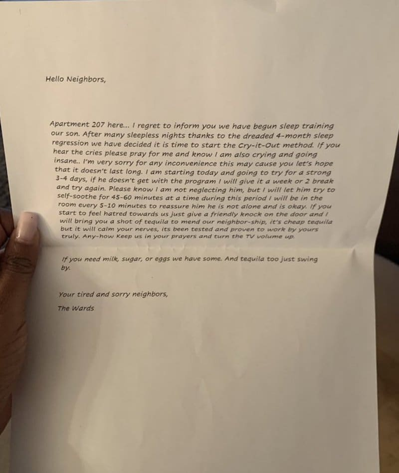 Parents Write Endearing Letter About Their Loud Baby To Their Neighbor 6