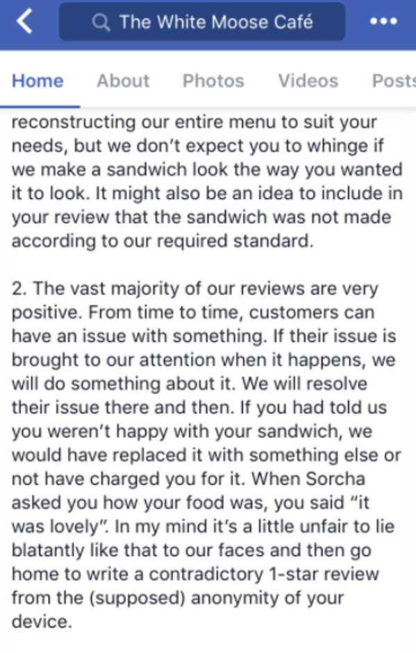karens being karens, owner responds with facts about the customer