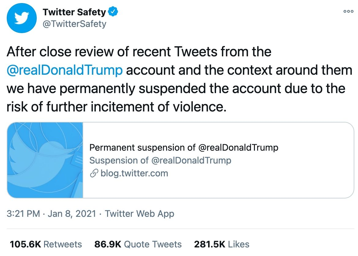 after close review of tweets from trump we have permanently disabled his account.