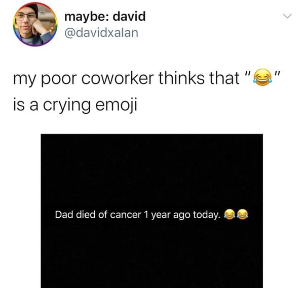 crying laughing emoji fail thinks is crying