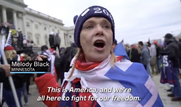 capitol hill rioter, proud patriot at DC riot, melody marie Black