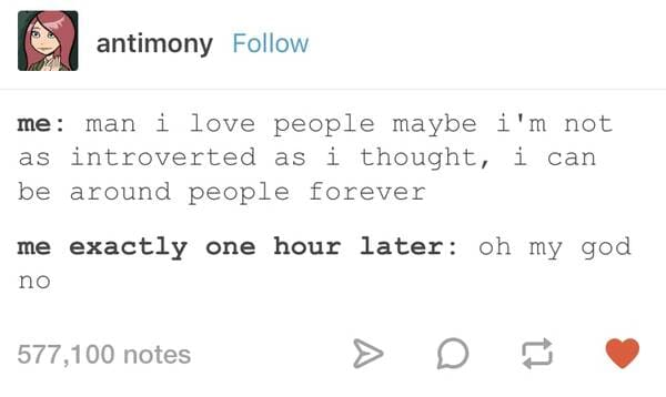 maybe i'm not as introverted as i thought introvert meme