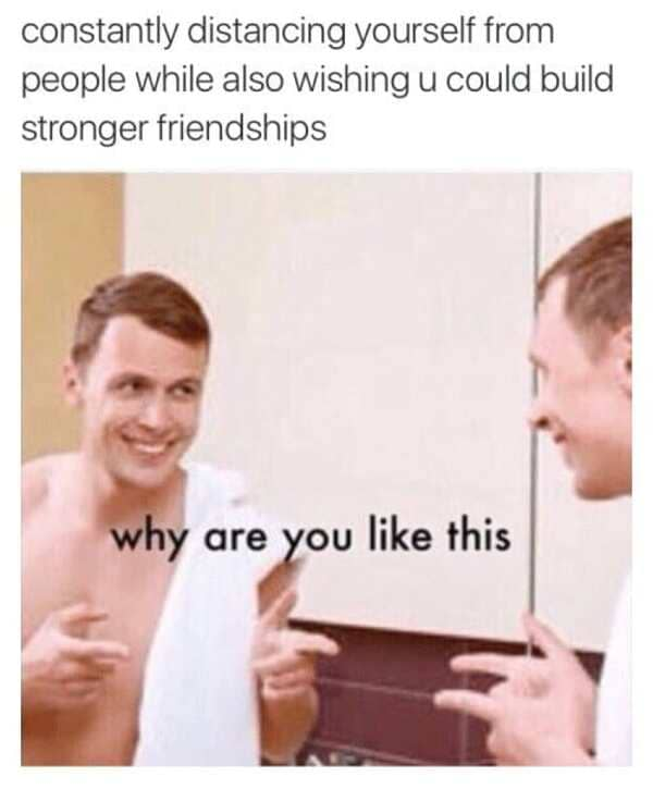constantly distancing yourself introvert meme