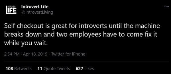 self checkout introvert meme