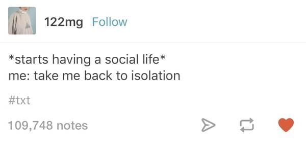 starts having a social life introvert meme