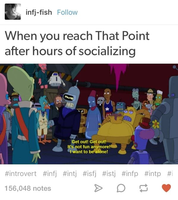 after hours of socializing introvert meme