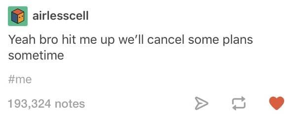we'll cancel some plans sometime introvert meme