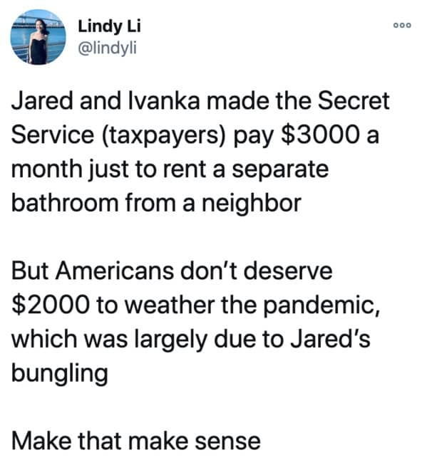 Ivanka Trump and Jared Kushner refuse to let secret service use their bathrooms, twitter reactions to news, Trump mansion toilets, funny tweets