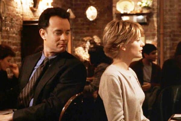 Youve got mail, movie scene with tom hanks and meg ryan at cafe, Real life romcom dealbreakers, things men do in romcoms that would be red flags in real life, romcom stalkers, romantic comedies that are actually creepy