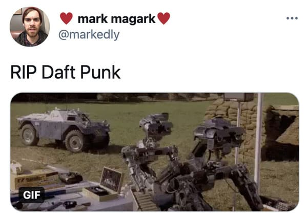 Daft Punk splitting up reactions, funny tweets about Daft Punk, electronic music, EDM, RIP Daft Punk, tributes, band, music, funny jokes about robots