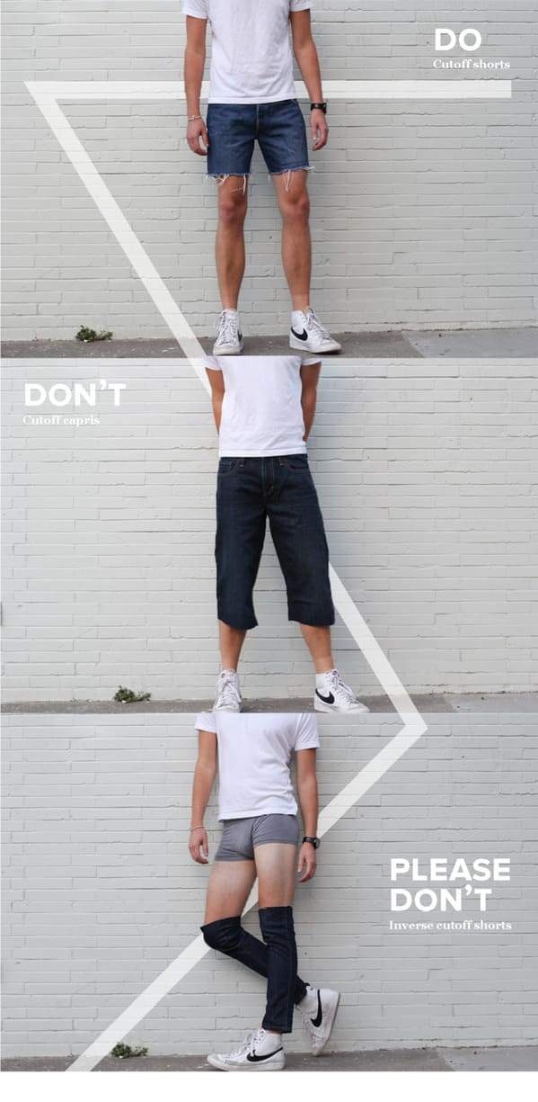 Mens fashion dos and donts, please donts, funny parody of fashion, mens clothing, fashion fails, weird clothes, parody, humor, funny jokes about menswear